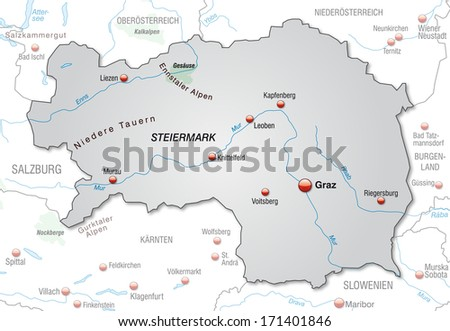 Map of Styria as an overview map in gray