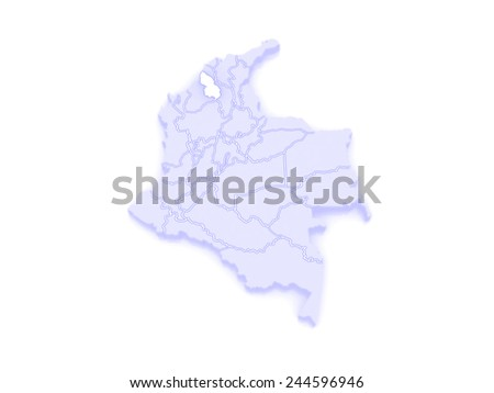 Map of Sucre. Colombia. 3d - stock photo