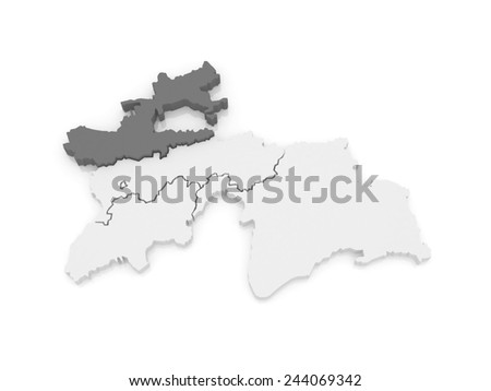 Map of Sughd region. Tajikistan. 3d