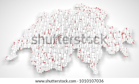 Map of Switzerland - Europe | 3d Rendering, mosaic of little bricks - White and Flag colors