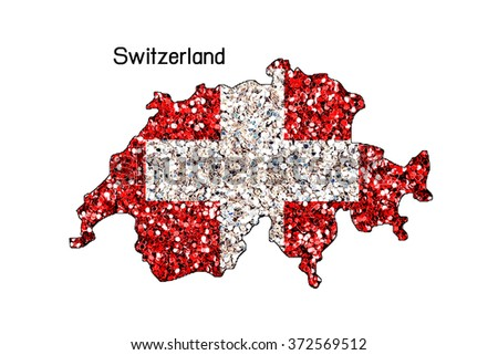 Map of Switzerland with an official flag. Illustration on white background,Glitter - stock photo