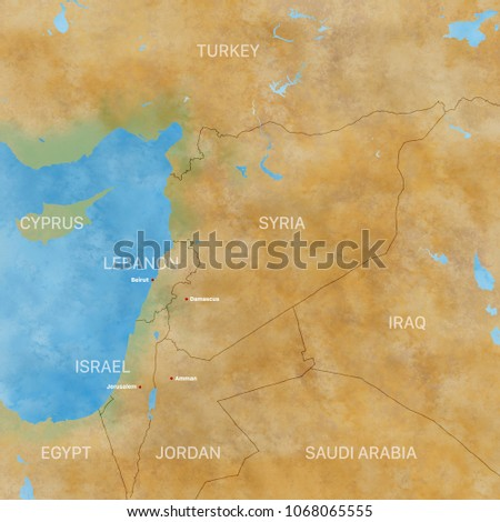 Map Syria Borders Physical Map Middle Stock Illustration 1068065555 ...