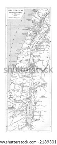 Map of Syria and Palestine, vintage engraved illustration. Le Tour du Monde, Travel Journal, 1881 - stock photo