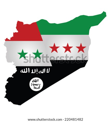 Map of Syria showing the three warring factions dividing the county translation on flag reads there is no God but God Mohammed is his messenger - stock photo