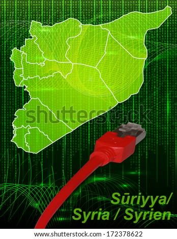 Map of Syria with borders in network design - stock photo