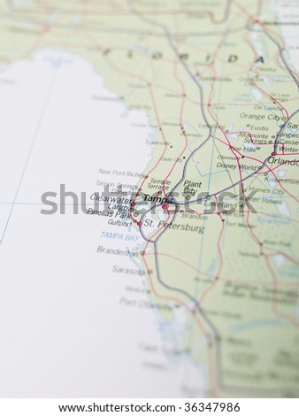 Map of Tampa in Florida - stock photo