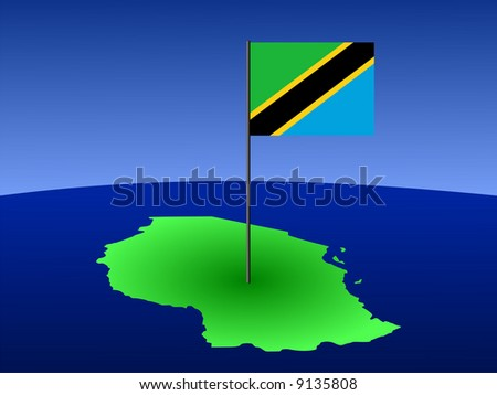 map of Tanzania and their flag on pole illustration JPG