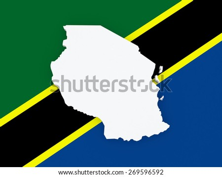 Map of Tanzania. 3d - stock photo