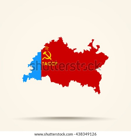 Map of Tatarstan in Tatar Autonomous Soviet Socialist Republic (1954â??1978) flag colors