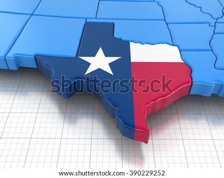Map of Texas state with flag. Image with clipping path. - stock photo
