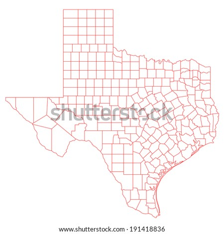 Map of Texas TX with its detailed counties. - stock photo