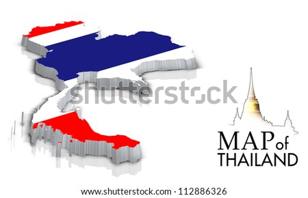 Map of Thailand with flag isolated on white - stock photo