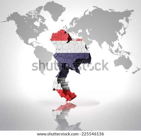 Map of Thailand with Thai Flag on a world map background