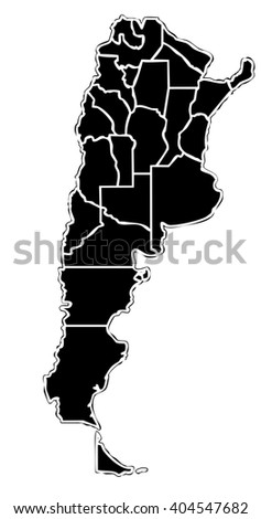 map of the argentinian state with white outline on black background with main internal borders - argentina map stylized - stock photo