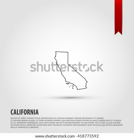 Map of the California state.  - stock photo