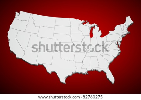Map of the continental United States on red background. - stock photo