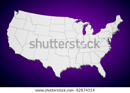 Map of the continental United States purple background. - stock photo