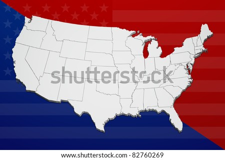 Map of the continental United States reflecting the concept of political division. - stock photo
