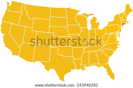 Map Of The Continental United States With The State Of Connecticut In A Darker Bold Orange