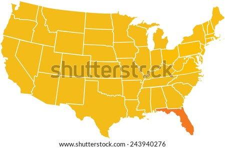 Usa Map Stock Vector Shutterstock - Us map with florida highlighted