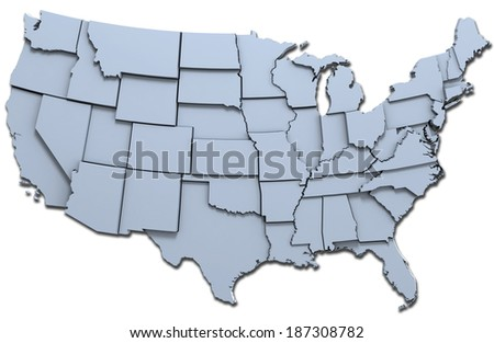 Map of the 48 continental USA states raised with clipping-path - stock photo