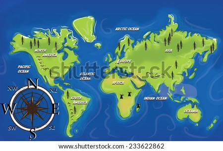 map of the continents of earth