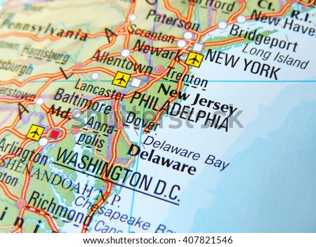Map of the East Coast of the USA with focus on New York and Washington D.C. - stock photo