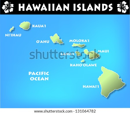 Map of the Hawaiian Islands - stock photo