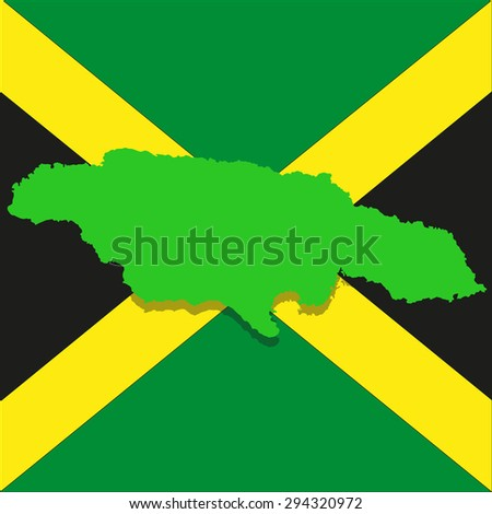 map of the island of Jamaica on the background of the national flag - stock photo