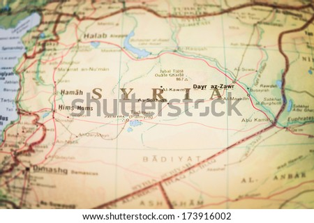 map of the middle-east region of Syria with blurred edges to highlight center of the image - stock photo