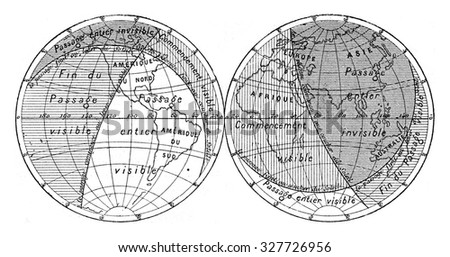 Map of the next transit of Venus, vintage engraved illustration. Magasin Pittoresque (1882). - stock photo