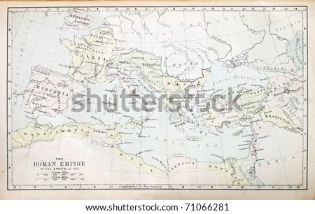 Map of the Roman Empire in the Apostolic age from a nineteenth century Bible - stock photo