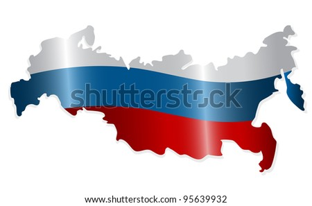 Map of the Russian Federation colored like the Russian flag - stock photo