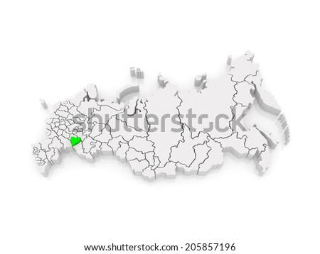 Map of the Russian Federation. Samara region. 3d