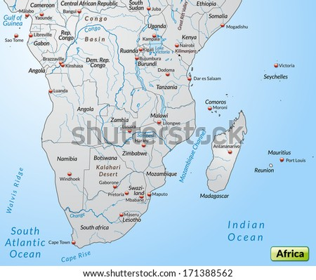 Map of the South of Africa as an overview map in gray