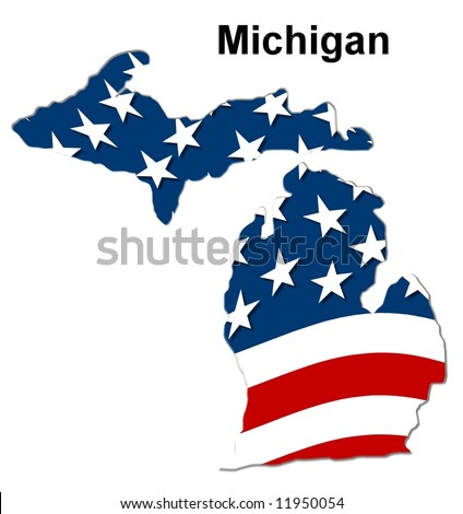 Map State Michigan American Flag Stock Illustration 11950054 ...