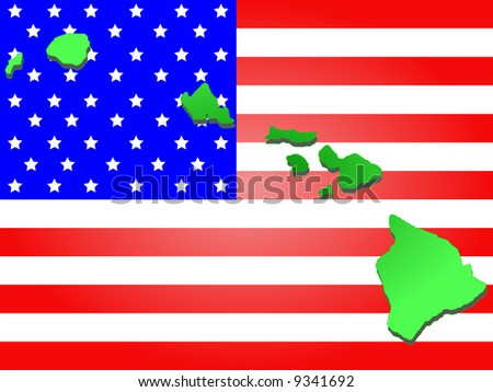 Map State Hawaii American Flag Stock Vector Shutterstock - Map of state of hawaii