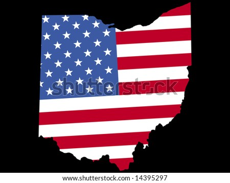 Map Of The State Of Ohio And American Flag