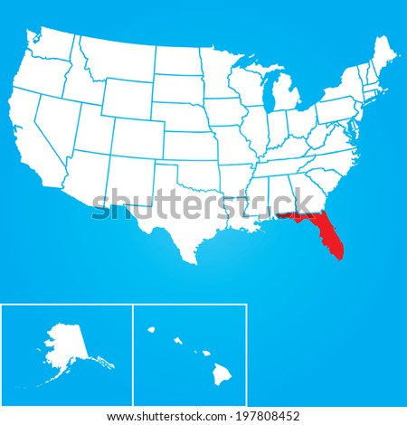 Map of the the United States of American with the states of Florida selected