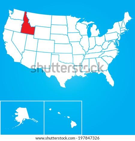 Map United States American States Idaho Stock Vector - Us map idaho