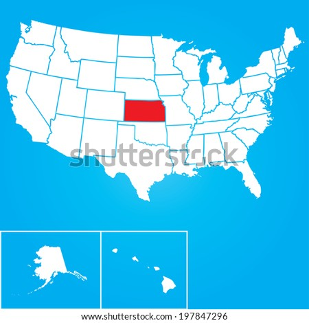 Map of the the United States of American with the states of Kansas selected