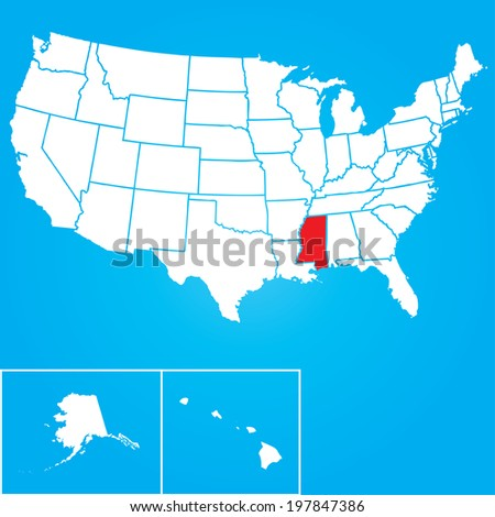 Map of the the United States of American with the states of Mississippi selected