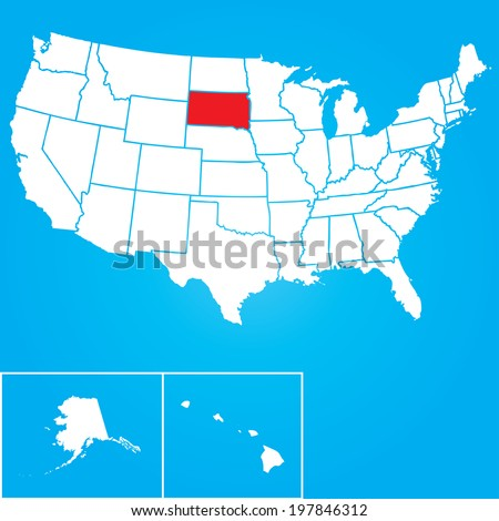 Map of the the United States of American with the states of South Dakota selected