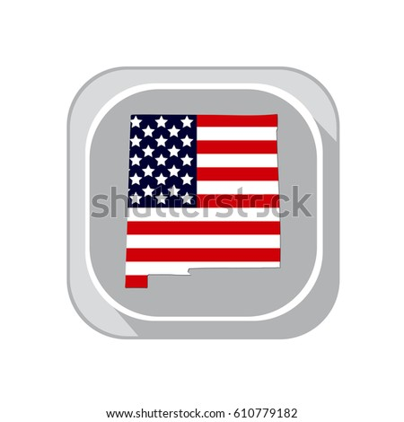 map of the u s state new mexico on a white background american flag