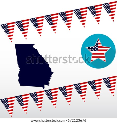 Map Us State Georgia On White Stock Vector Shutterstock - Georgia on the us map