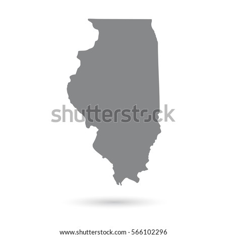 Illinois Map Isolated On White Background Stock Vector - Us map white silhouette