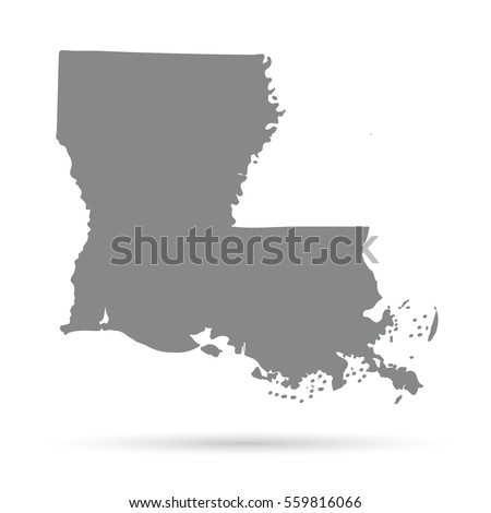 Louisiana State Border Map Stock Vector Shutterstock - Louisiana on us map