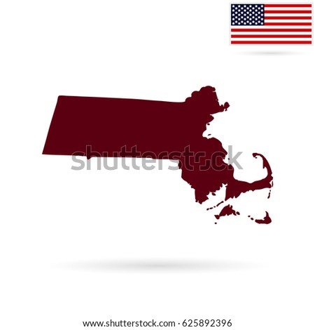 Map Us State Massachusetts On White Stock Vector - Us map all white red background