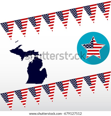 Map Us State Michigan On White Stock Vector Shutterstock - State of state of michigan on a us map