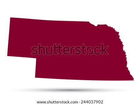 Map of the U.S. state of Nebraska on a white background  - stock photo